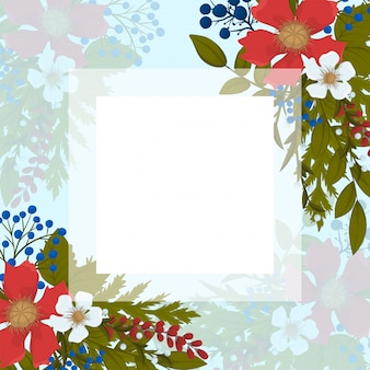 Fower page boarders - red, light blue, white flowers