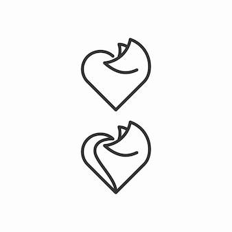Лиса и любовь наброски логотип