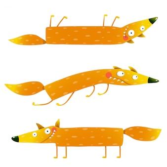 여우 동물 캐릭터 재미 만화 아이들을위한 설정