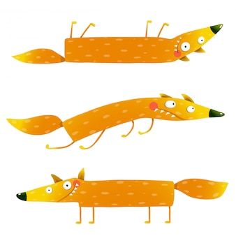 Fox animal character fun cartoon set for kids