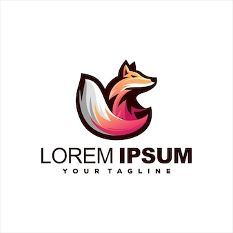 Fox animal gradient logo design