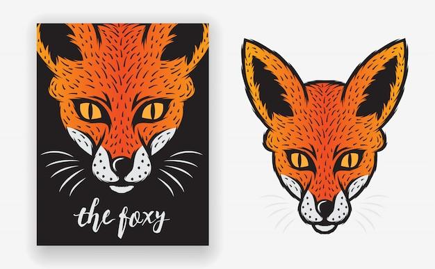 Шаблон постера fox animal с минимальным, простым и современным стилем