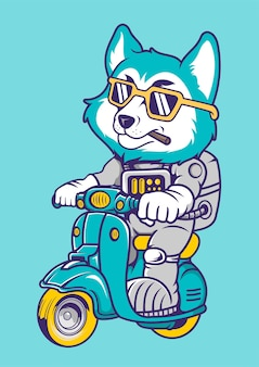 Fox astronaut scooter hand drawn illustration