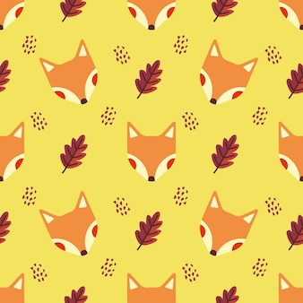 Fox and autumn leaf animal vector seamless pattern background