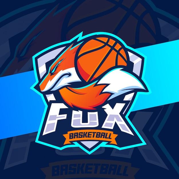 キツネバスケットボールマスコットeスポーツロゴデザイン