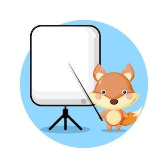 Fox becomes a teacher cute character logo