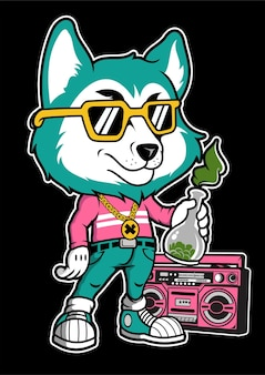 Fox boombox рисованной иллюстрации