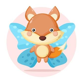 Fox butterfly cute character Premium Vector