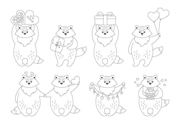 Fox cartoon black linear set. funny animal character with hearts, balloon gift
