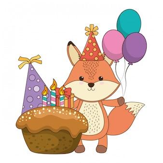 Fox cartoon with happy birthday icon