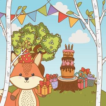 Fox cartoon with happy birthday