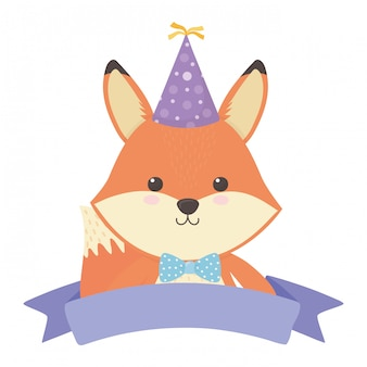 Fox cartoon with happy birthday