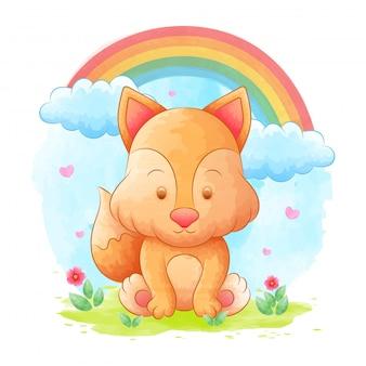 水彩、虹、花の背景を持つフォックス漫画