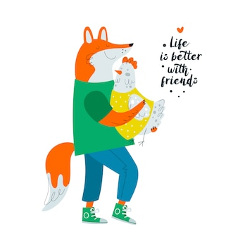 Fox and chicken. friendship, friends. cute animals character illustration