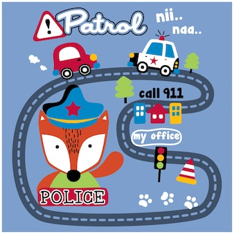 Fox the city police funny animal cartoon