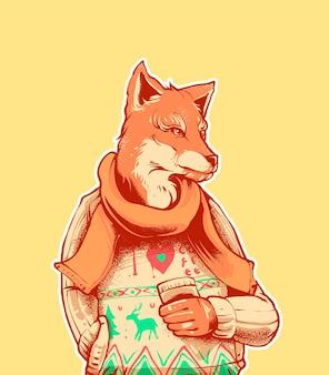폭스 커피 그림입니다. t 셔츠, 인쇄 및 상품 제품에 적합