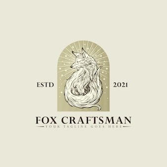 Fox craftsman logo hand drawing vector illustration template design on white background