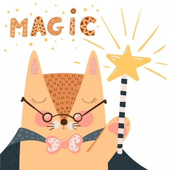 Fox - cute illustration. magic wand and trick.