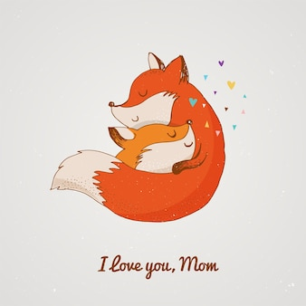 Фокс, милый, милый. открытка ко дню матери