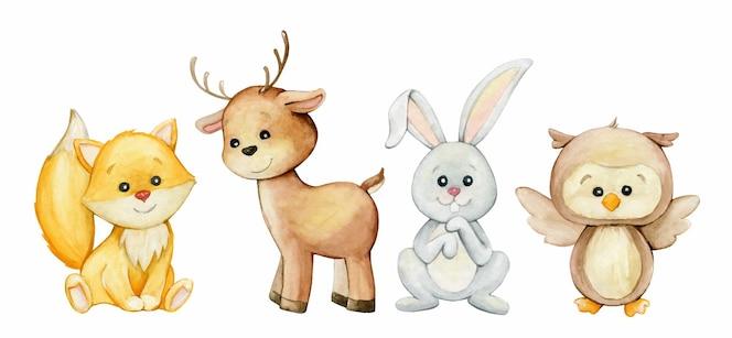 キツネ、鹿、ウサギ、フクロウ。水彩画。森、動物。漫画のスタイルで。