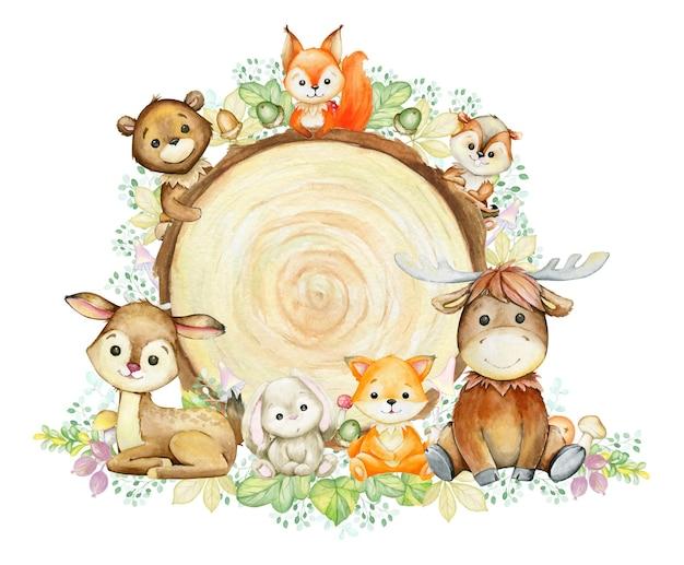 キツネ、シカ、シマリス、ウサギ、ムース、クマ、リス。漫画のスタイルで、木製の背景に水彩の森の動物。