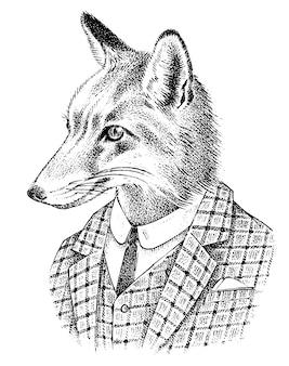 Fox dressed up in suit illustration