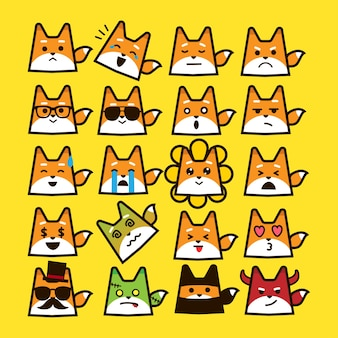 Fox emoticon set on cute shape