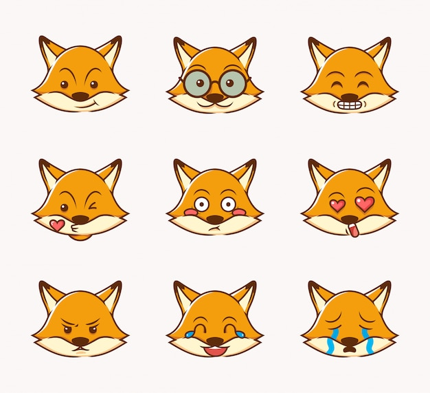 Fox facial expression collection, smile, cry, surprised, angry and love with flat design style