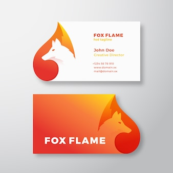 Fox flame abstract logo and business card