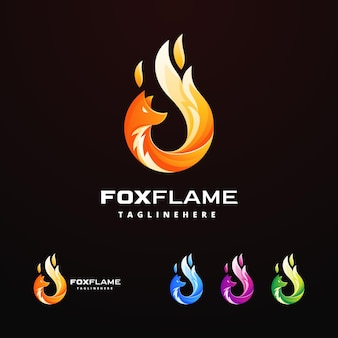 Fox flame design logo template