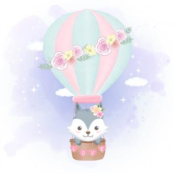 Fox floating on hot air balloon illustration