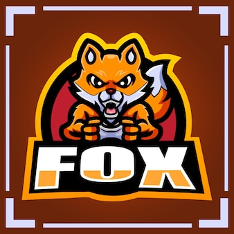 Фокс игровой талисман киберспорт дизайн логотипа