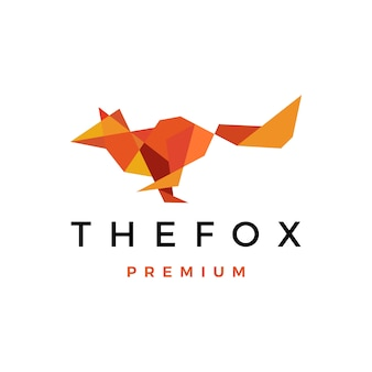 Fox geometric low poly logo  icon illustration