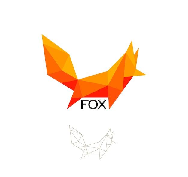 여우 기하학적 기호 고양이 개 추상 다각형 벡터 로고 템플릿 종이 접기 오렌지 색상 낮은 폴 리