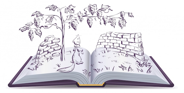 Fox and grapes. open book fable illustration