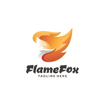 Fox head and fire flame logo