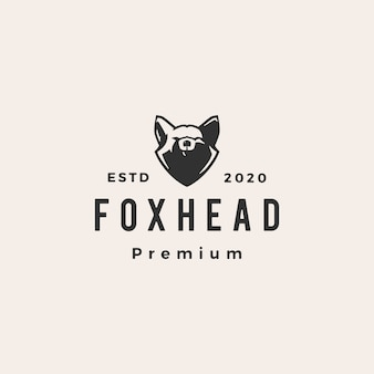 Fox head hipster vintage logo icon illustration