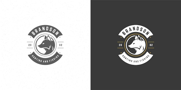 Fox head logo emblem illustration silhouette for shirt or print stamp