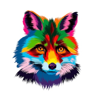 여러 가지 빛깔의 페인트에서 여우 머리 초상화 현실적인 수채화 색 그림의 스플래시