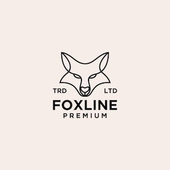 Fox head vintage line logo icon illustration