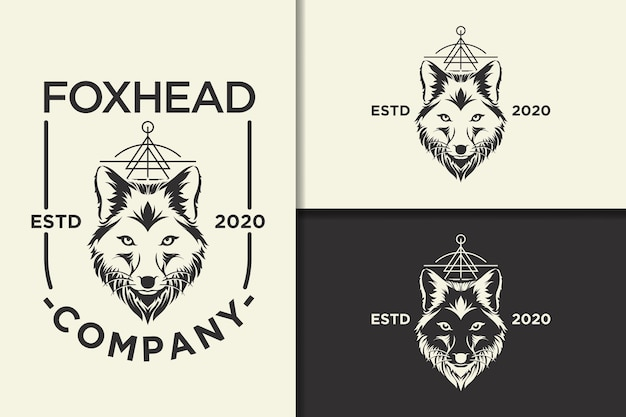 Fox head vintage logo and label template