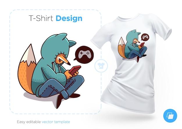 Лиса в толстовке с капюшоном, играющая в мобильные игры, дизайн футболки печать для одежды, плакатов или сувениров