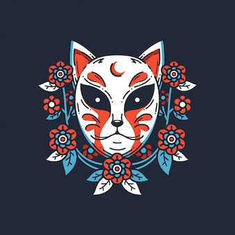 Fox japanese mask illustration