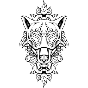 Fox kitsune mask silhouette