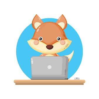 Фокс ноутбук милый персонаж логотип
