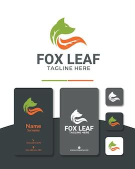 Fox leaf logo design wolf nature green