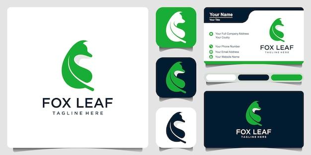 명함 서식 파일 디자인 벡터와 여우 잎 로고
