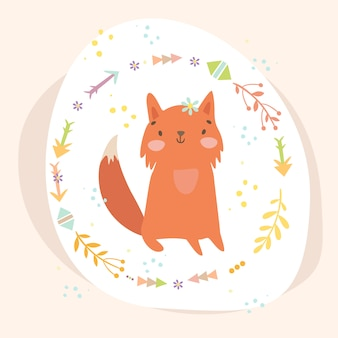Fox in leaves wreath