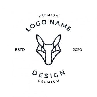 Концепция логотипа фокс с линии искусства стиля.