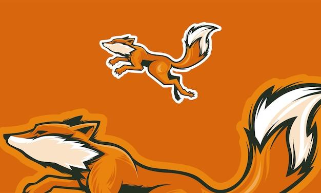 프리미엄 벡터 마스코트 그림을 사용할 준비가 된 폭스 로고 디자인